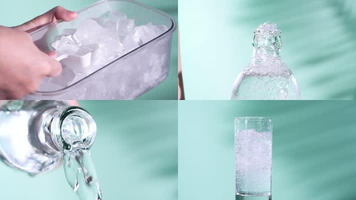 冰块苏打水气泡水碳酸饮料视频素材
