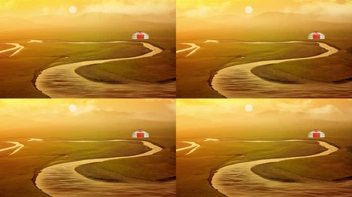 草原夕阳舞台背景