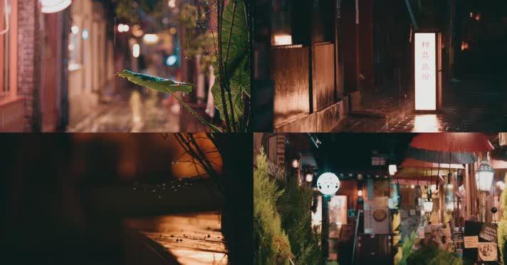 城市雨景,小巷胡同,夜雨雨夜