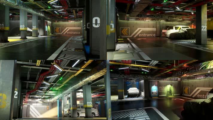 【4K】地下停车场