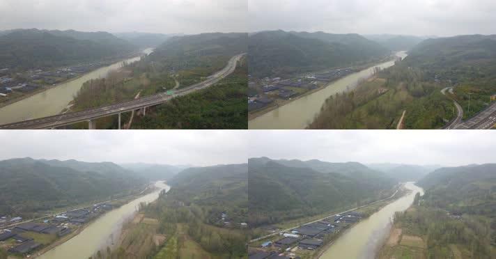 航拍洛河S92线洛卢高速禹门河谷01