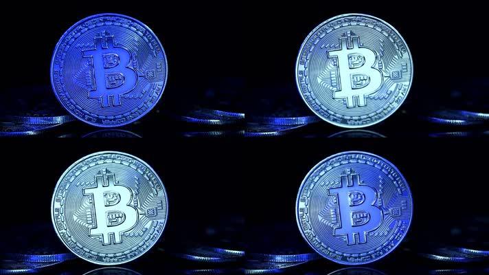比特币闪烁着蓝色和银色